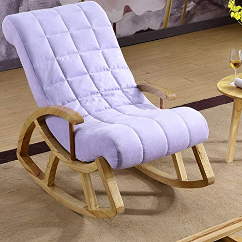 HYYTY-Y Single Sofa Rocking Chair, Solid Wood Lounge Chair with Armrests - Pedal/Pillow 619-YY (Color : Purple, Size : with Pillow) (Rocking Chair Ikea Wicker)