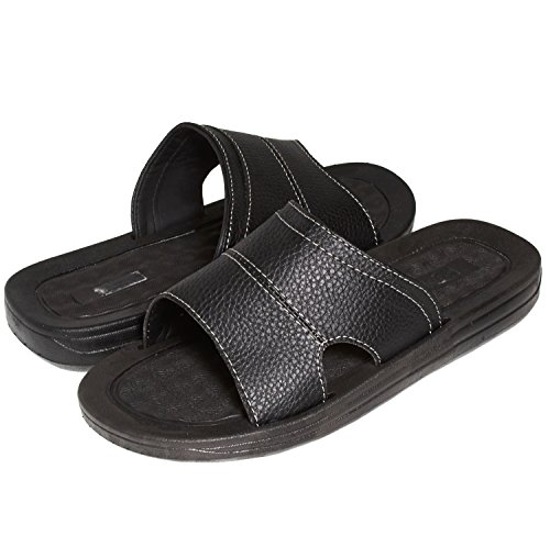 Skysole Mens Faux Leather One Band Slides Rugged Sandals (See More Colors and Sizes)