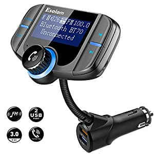 "Bluetooth FM Transmitter, ESOLOM Wireless Car Stereo Radio Adapter Receiver, Hands-free Calling Car Kit with 1.7"" Display, QC3.0 & Smart 2.4A Dual USB Ports, Support TF Card, AUX Input/Output"