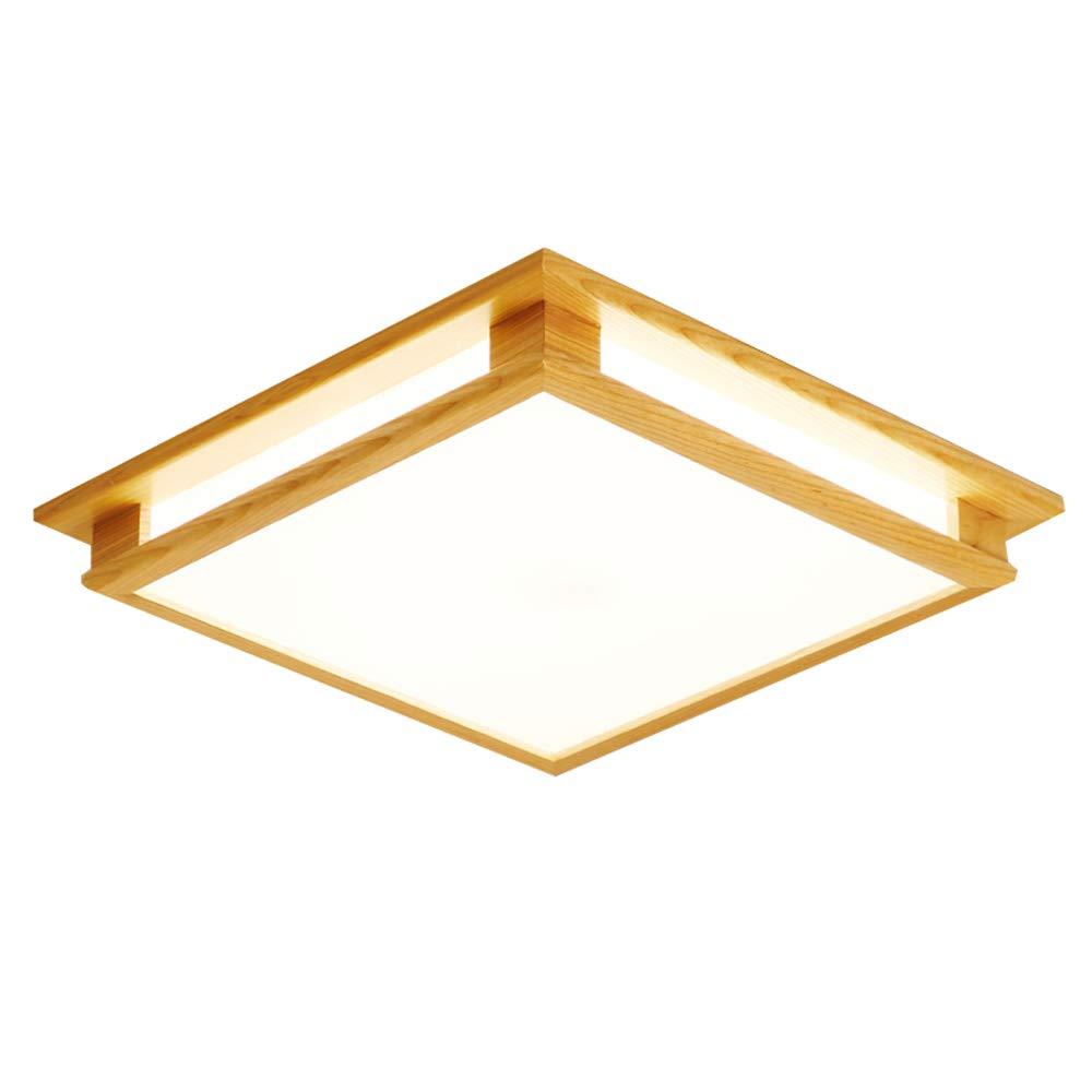 Japanischen stil massivholz platz led deckenleuchte schlafzimmer lampe Nordic wohnzimmer esszimmer lampen einfache moderne dekorative deckenleuchte 40 cm / 50 cm (Farbe : Weißes Licht-M)