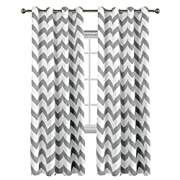 Flamingo P Traditional Window Drapes Chevron Pattern Thermal Insulated Blackout Curtain for Living Room Grommet Window Treatment Panel, W52 x L84 inch, Sold In Pair Dove Gray