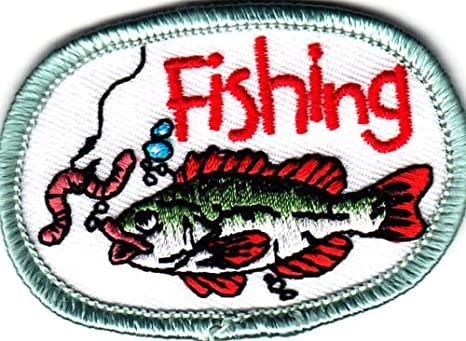 """/""""FISHING/"""" PATCH w//FISH /& BAIT-Iron On Embroidered Applique//Words,Fishing,Sport"""
