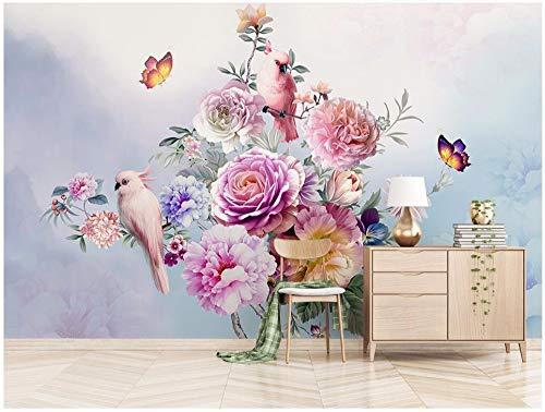 MBWLKJ Custom Photo 3D Wallpaper Cloth Hand-Painted Retro Rose Parrot Tv Background Home Decor 3D Wall Murals Wallpaper-150cmx100cm ()