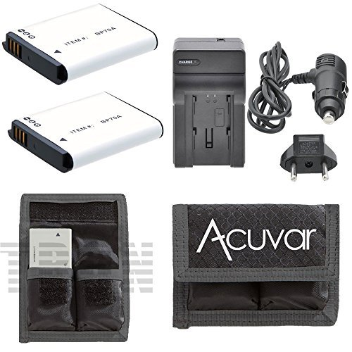 70a Battery Charger - 2 BP-70A Rechargeable Batteries + Car / Home Charger + Acuvar Battery Pouch Series for Samsung AQ Series, AQ100, DV50, DV90, DV100, DV101, DV150F, ES Series, ES30, ES65, ES67, ES70, ES71, ES73, ES74, ES75, ES80, ES95, ES96, ES99 and Other Models