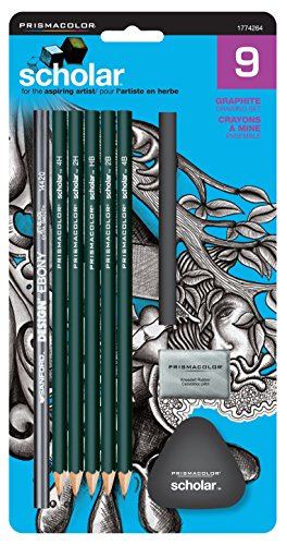 Prismacolor Scholar Drawing Set, with 7 Pencils & 2 Erasers, 9-Piece Kit