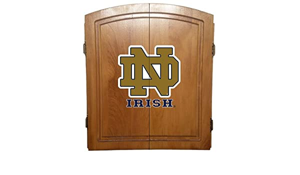 Com Notre Dame Fighting Irish Dart Board Cabinet Set Dartboard Cabinets  Sports Outdoors