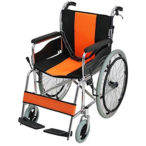 車椅子 アルミ合金製 オレンジ 約12kg 背折れ 軽量 折り畳み 自走介助兼用 介助ブレーキ付き ノーパンクタイヤ 自走用車椅子 自走式車椅子 折りたたみ コンパクト 軽い 背折れ式 自走用 介助用 自走式 自走 介助 車椅子 車イス 車いす wheelchairs05or B06X9SW5T3