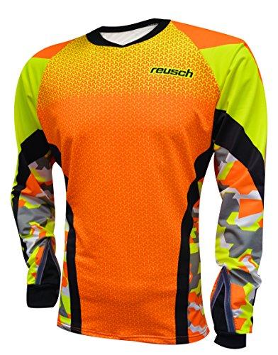 Reusch Soccer Women's Camo Pro-Fit Long Sleeve Goalkeeper Jersey, Orange/Yellow, Adult Medium (Camo Goalie Jersey)