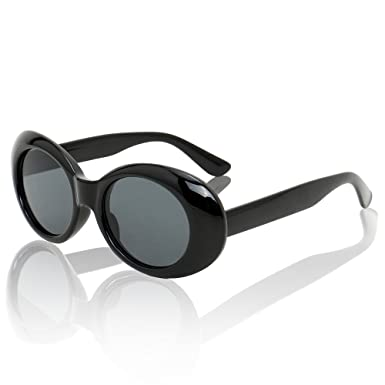 edaf54c48af Clout Goggles Women Oval Sunglasses Kurt Cobain Sun Glasses Round Retro  Shades for Men UV400 Protective Candy Color (Black)  Amazon.co.uk  Clothing