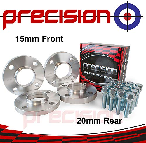 Staggered Fitment Hubcentric Spacers 15mm/20mm + Bolts for Ṕeugeot Partner Aftermarket Wheels Part No. 2PHS8+2PHS9+8BM2240+8BM2245120 Precision