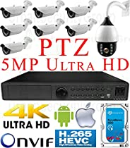 USG H.265 5MP Sony DSP Ultra 4K 8 Camera Security System PoE IP PTZ CCTV Kit: 1x 5MP 24 Ch. NVR + 7x 5MP IP PoE 2.8-12mm Lens Bullet Camera + 1x 4MP IP PTZ 4.7-94mm Lens + 1x 4TB HDD View On Phone