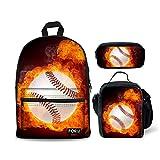 FOR U DESIGNS Teen Boys School Backpack Set 3 Piece Baseball Insulation Lunch Handbag + Pencil Holder