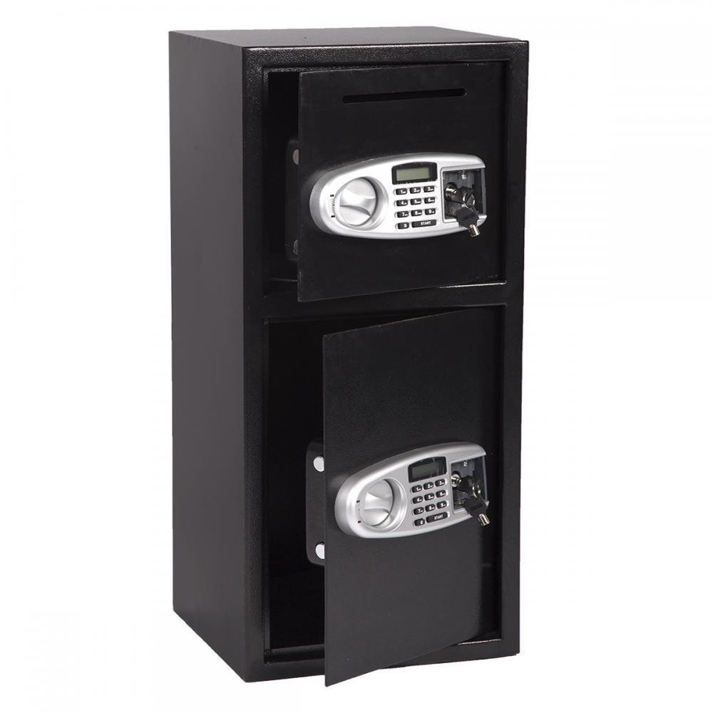 Black Double Digital Depository Safe Box Security w/ Electronic Lock