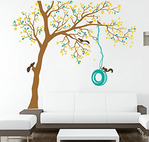 "Yanqiao 47.255.1""Cartoon Squirrel Tree Wall Sticker Decor Children Room Removable Wall Decals Wall Art,Brown+Yellow+Blue"