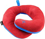 BCOZZY Kids Chin Supporting Patented Travel Pillow - Keeps The Child's Head from Bobbing up and Down in car Rides, Providing Comfort and Support for The Neck and Head. Child Size (Red)