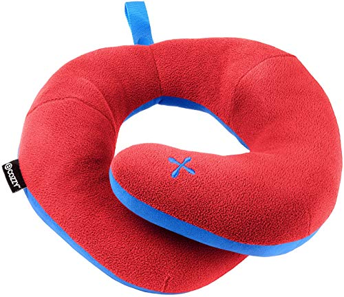 BCOZZY Chin Supporting Patented Travel Pillow - Prevents The Head from Falling Forward in Any Sitting Position, Providing Comfort and Support for The Neck and Head. Adult Size (Red)