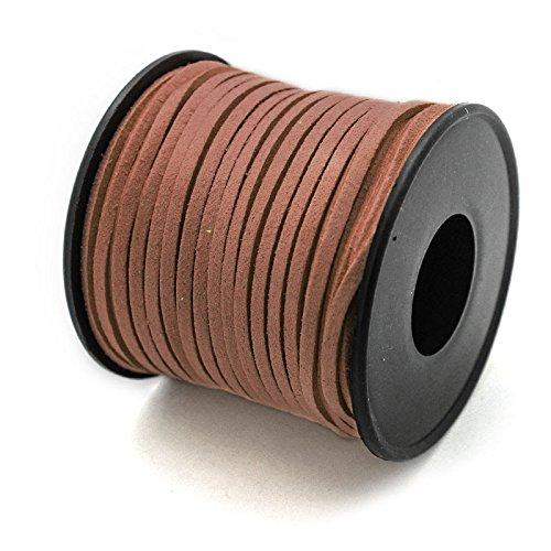 RUBY- Suede Cord Bobbin (Antelina) 3mm / 25Meters (Noir) Ruby Abalorios