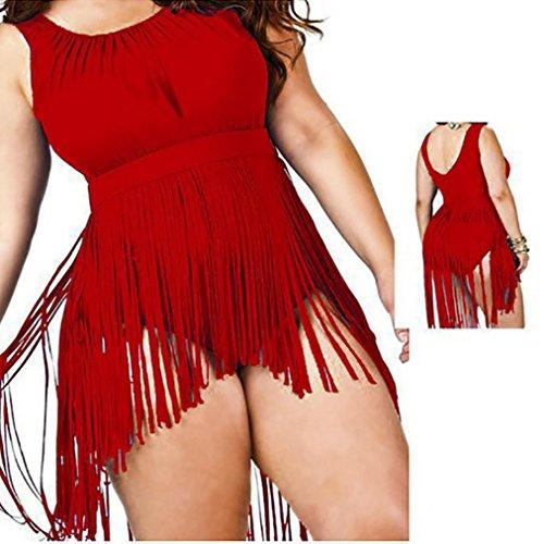 Moda Borla Bikini mujer push up talle alto Nergo cintura alta 2017 SHOBDW uno piezas Traje de baño talla grande Rojo