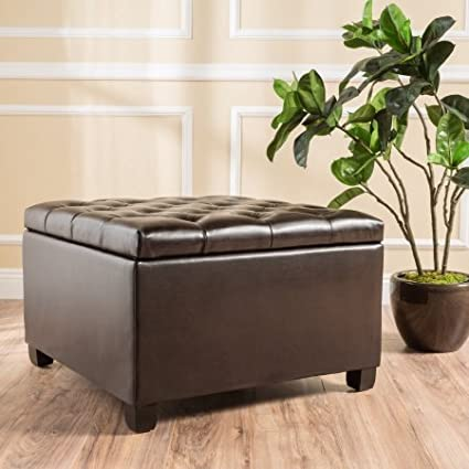 Noble House Bentley Brown Leather Deep Tufted Button Storage Ottoman