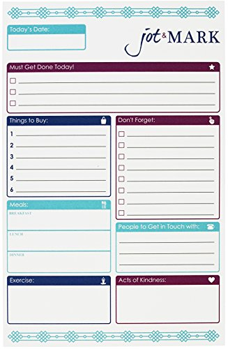 Jot & Mark Daily Planning Pad, Goals, Tasks, Meals, and Workout Planner To-Do Pad, 50 Tear-Off Sheets Per Notepad