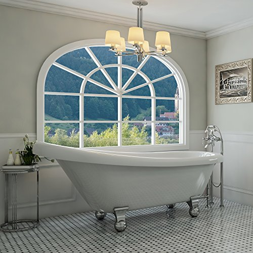 Luxury 67 inch Modern Clawfoot Tub in White with Stand-Alone Freestanding Tub Design, Includes Modern Polished Chrome Cannonball Feet and Drain, from The Glendale Collection ()