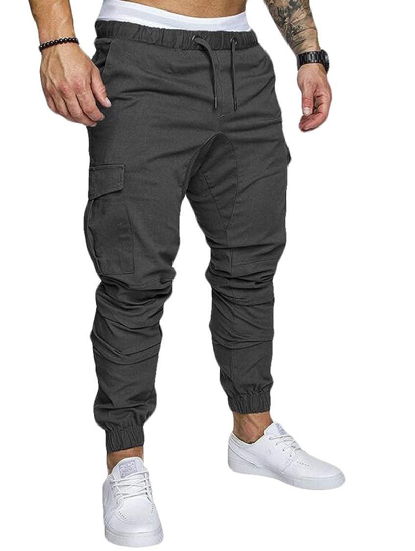 SELX Men Casual Feet Beam Harem Multi-Pocket Overalls Loose Trousers