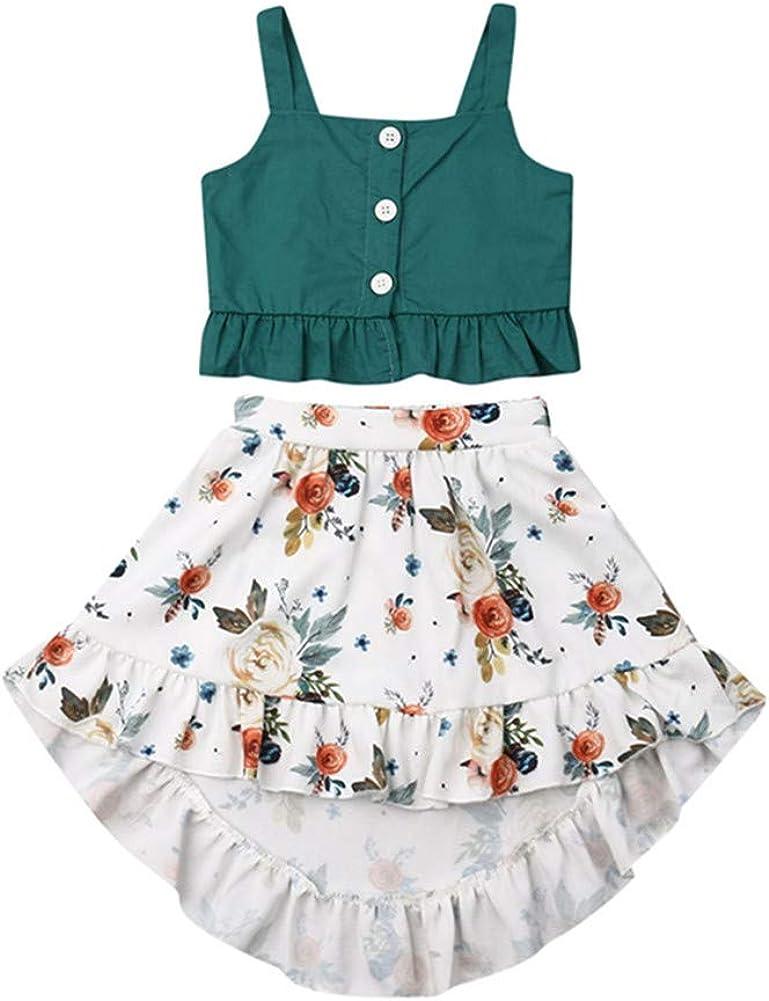 Toddler Kids Little Girl Skirt Set Ruffle Straps Tank Top+Boho Floral Skirts Dress 2 Piece Summer Outfits Clothes