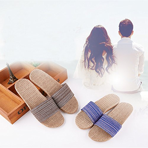 Sandals Skidproof Linen Toe Flax Breathable Slipper Summer Slippers Unisex Brown Indoor ENCOCO Beach Open qTX7wZxT