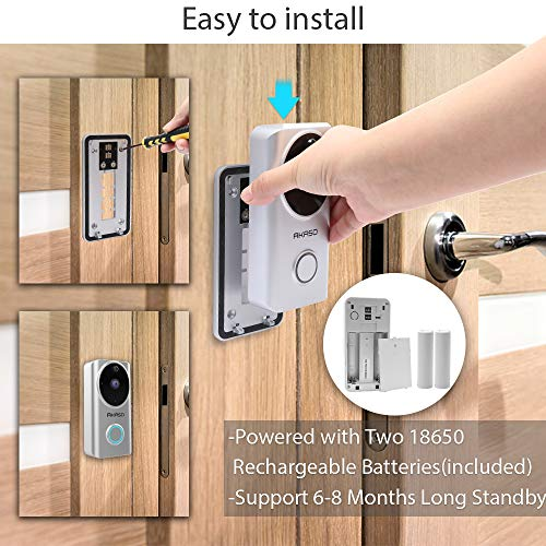 Video Doorbell Wireless WiFi,AKASO Smart Doorbell Camera with Motion Detector,720p Security Camera w/166° Viewing Angle Works with Alexa,Two-Way Audio & Cloud Storage,Night Vision for iOS Android by AKASO (Image #6)
