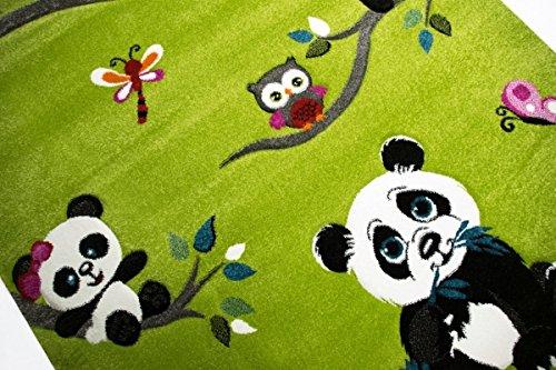 Enfants tapis de jeu tapis enfants des tapis color/és animaux mignons avec contour de coupe Panda design avec des papillons de hibou et les oiseaux Vert Cr/ème Rose Gris Multicolore Gr/ö/ße 80x150 cm