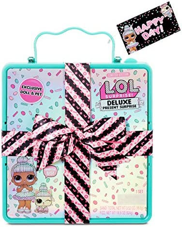 L.O.L. Surprise Deluxe Present Surprise with Limited Edition Sprinkles Doll and Pet, Teal