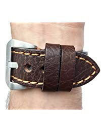 Genuine Brown Leather Watch Strap 24mm, Thick Strap, Large Buckle, for Panerai