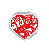 Paper-cut Monkey Animal China Zodiac Heart Compact Makeup Mirror Portable Cute Hand Pocket Mirrors Gift