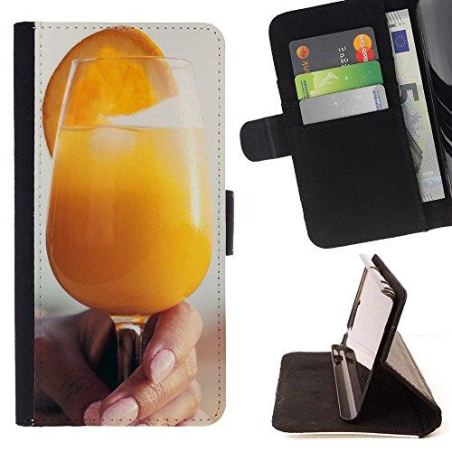 God Garden - FOR Apple Iphone 5 / 5S - Orange Juice Glass Drink Cocktai - Glitter Teal Purple Sparkling Watercolor Personalized Design Custom Style PU Leather Case Wallet Fli