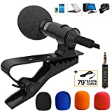 Lavalier Lapel Microphone,Microphone Kit with Easy Clip On System for IPhone,Ipad, All Smartphones,PC,DSLR,Camcorder,Youtube,Interview,Video Conference,Noise Cancelling Mic