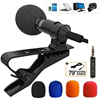 Lavalier Lapel Microphone,Microphone Kit with Easy Clip...