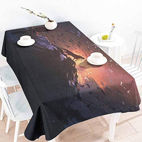 EwaskyOnline Outdoor Tablecloth Rectangular,Fantasy World Howling Wolf on Rock Surrounded by Bats Birds Scary Dog Wild Life Animals Art,Party Decorations Table Cover Cloth,W60X102L, -
