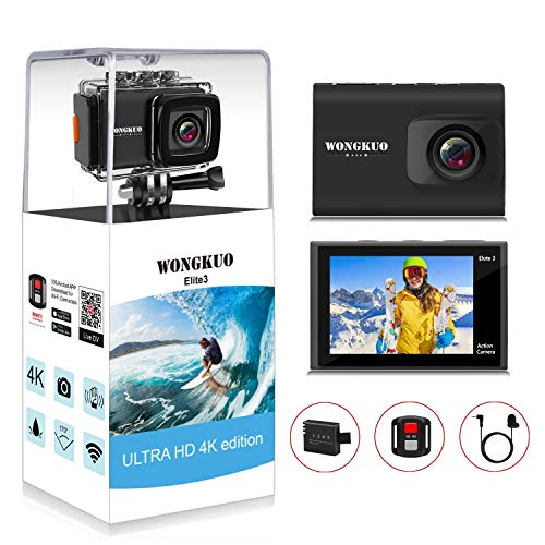 WONGKUO Upgraded Action Camera 4K 20MP Ultra HD WiFi Sport Camera with EIS 30m Waterproof Camera 170°Wide Angle Camcorder 2