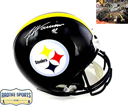 James Harrison Autographed/Signed Pittsburgh Steelers Full Size Riddell NFL Helmet