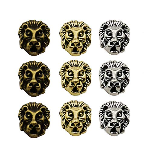 Beads Lion - Youdiyla 36pcs Lion Spacer Beads, Antique Silver+Bronze+Gold Tone, Metal Hole Spacer Beads Charm, DIY for Necklace and Bracelets (HM195)