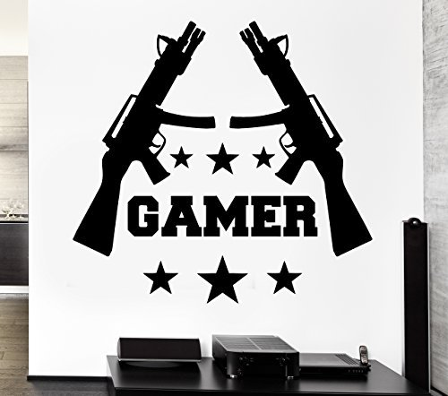 Crystal Emotion Gamer Wall Stickers Games Room Video Game Gun Play Kids Room Vinyl Decal Best Decoration For - Pistols Video Game