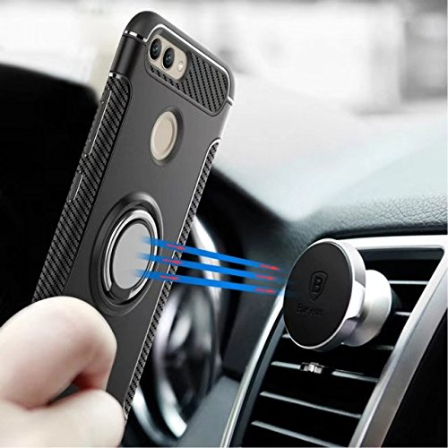 YAJIE-Carcasa Funda Para Huawei Nova2, Armor Dual Layer 2 en 1 Heavy Duty funda protectora a prueba de golpes con 360 grados giratorio Finger Ring Holder y Magnet Car Holder Case ( Color : Gold ) Navy