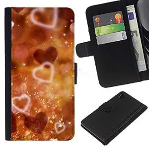 JackGot ( Corazones de Bokeh ) Sony Xperia Z4v / Sony Xperia Z4 / E6508 la tarjeta de Crédito Slots PU Funda de cuero Monedero caso cubierta de piel
