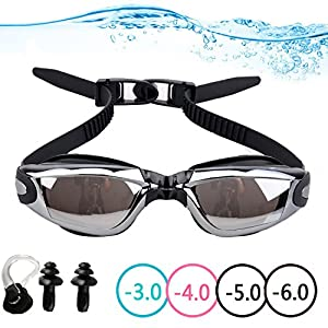 YINGNEW Optical Mirrored Swim Goggles with Prescription Lenses and Free Nose Clip - Best Value Corrective Myopia Swimming Goggles for Men & Women with Leak Proof Anti-fog UV-Protection