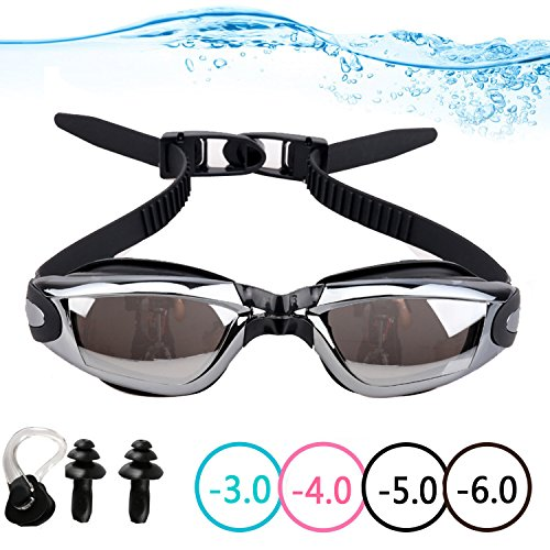 YINGNEW Optical Mirrored Swim Goggles with Prescription Lenses and Free Nose Clip - Best Value Corrective Myopia Swimming Goggles for Men & Women with Leak Proof Anti-fog - Goggles Mirrored Prescription Swim