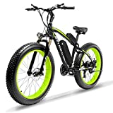 Cyrusher Fat Tire Bike Snow Bike Mountain Bike with Motor 500W 48V Lithium Battery Extrbici XF660 Shimano 7 Speeds System 4.0 inch Fat Tire Suspension Fork Dual Disc Brakes New Adjustable Handlebar