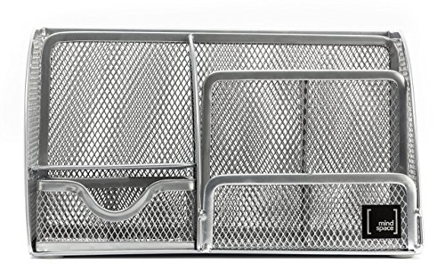 Mindspace Office Desk Organizer with 6 Compartments + Drawer + Pen & Pencil Holder   The Mesh Collection, Silver by Mindspace (Image #2)'