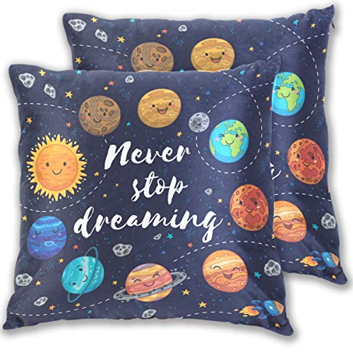 Nebula Galaxy Space Throw Pillow Cases Covers Hidden Zipper,Never Stop Dreaming Cute Solar System Pillowcase Pillow Protector Cushion Cover Sofa Bedroom Home Decor,Set of 2,18x18 in by Wamika