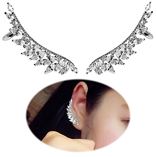 Women Angel Wings Rhinestone Ear Stud Dangle Earrings Jewelry - 3