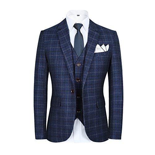Men%E2%80%99s+Slim+Plaid+Modern+Fit+One+Button+3-Piece+Suit+Blazer+Dress+Suit+Jacket+Tux+Vest+%26+Trousers+%28L%2C+blue%29